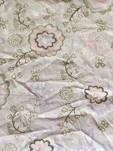 Pottery Barn Kids Gabrielle Crib Fitted Sheet Lavender Flowers Butterflies Baby