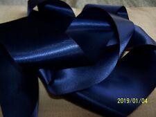 Ancien ruban en satin. Superbe qualité. Années 50. Au mètre. Bleu marine. N°22