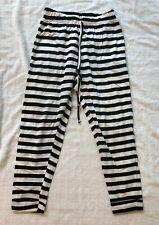 Black & White Drawstring Jersey Joggers, Size XS/S