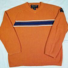 ABERCROMBIE Original Goods Orange Knit Pullover Sweater Navy Blue Stripe Youth L