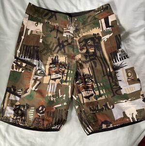 Quicksilver Men's Boardshorts ~ WarPaint~ Size 31 ~ Multi - brn/grn/blk + (B-15)