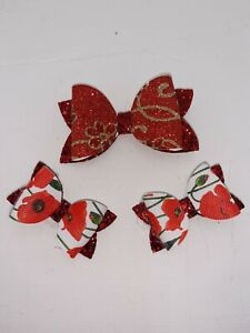Set of 3 hairbows red / poppy set