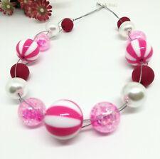 FRECHE Halskette pink weiss grosse Perlen Kette Streifen Glanz Polaris  50 cm
