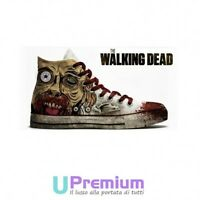 Converse All Star The Walking Dead Scarpe Disegnate Handmade Paint Uomo Donna Cl