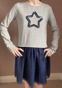 Boys & Girls Jersey Dress Size 12 Years Grey Navy Blue Net Skirt Christmas Ex JL