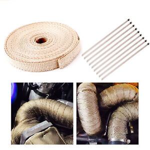 "4/5"" 50Ft Roll Fiberglass Exhaust Header Pipe Heat Wrap Tape Khaki +10 Ties KitT"
