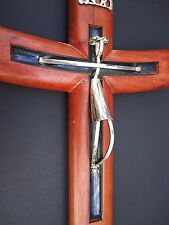 Rosewood Sterling Silver Inri Cross Crucific Taxco Modernist Large 14.5 In