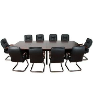 Konferenztisch Besprechungstisch Seminartisch Meetingtisch + 10 Leder Stühle