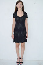 Vintage 90's Black Sparkles Babydoll Mini Dress by Carabella Size Small - Usa