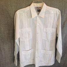 Evan Men's 36 Guayabera White Long Sleeve Dress Shirt