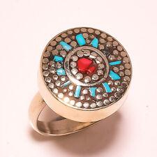 Red Coral Tibetan Turquoise Handmade Jewelry Nepali Adjustable Ring USA-5264