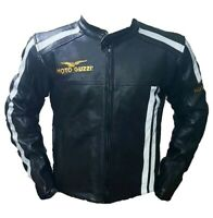 Moto Guzzi Racing Motorbike Leather Jacket In Cow Hide/5 Ce Approved Protectors