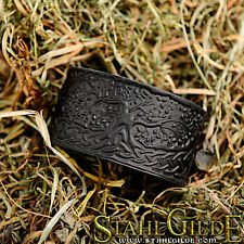 Leather Bracelet Cuff Wristband Yggdrasil World Tree Celtic Knotwork Vikings bla