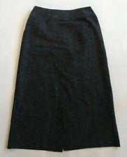 EILEEN FISHER Cotton/Rayon/Linen Gray Cross Weave Midi Skirt Women's XS X-Small