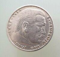 5 Reichsmark 1936 - A - 900-er Silber Silbermünze Hindenburg Wappenadler vz