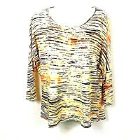 Chicos Women's 1 Shirt Top Blouse 3/4 Sleeve Everyday Travel Tiger Stripe S - M