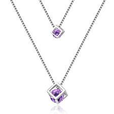 Rhinestone Crystal Cube Pendant Necklace Hot Fashion 925 Sterling Silver Purple