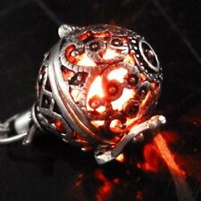 Steampunk FIRE necklace - pendant charm locket jewelry- GREAT GIFT-silver Red