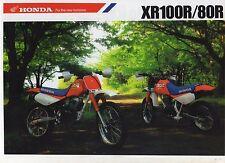 1988 HONDA XR100RJ XR80RJ 2 Page Motorcycle Brochure NCS