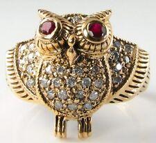 ANNATA Insp 9ct 9k Oro Indiano Ruby & 22 anello di diamanti gufo libero Ridimensiona