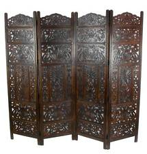 4 Panel Hand Carved Indian Screen Wooden Leaves Screen Room Divider 177x183cm Dark Brown