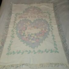 """Pastel Colored Bless This Child Throw Tapestry Blanket Measurements 44"""" X 32"""""""