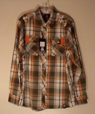 NWT MEN'S RED APE L MULTI-COLOR BUTTON FRONT UP DOWN LONG SLEEVE SHIRT #1024