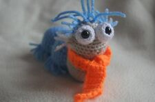 Crocheted 'Labyrinth' inspired blue worm