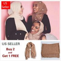 6x3 FT Pearl Cotton Women Viscose Maxi Crinkle Hijab Scarf Shawl Islam Muslim