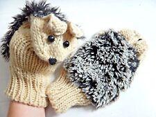 HEDGEHOG MITTENS! super soft cute & warm! fleece knit crochet animal gloves Y5
