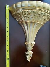 Vintage Home Interiors Gold 2 in 1 Wall Vase / Shelf Decoration~Homco~2 Piece