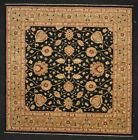 """Momeni Heirlooms Chobi Hand Knotted Wool Black Area Rug 9'1"""" X 9'1"""" Square"""
