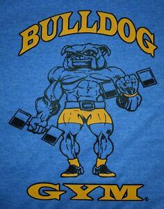 Bulldog Gym Muscle Workout Bodybuilding Royal / Vintage Gold T-Shirt NEW M L XL