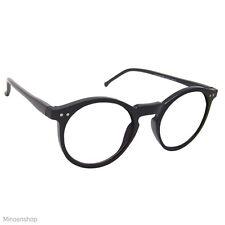 Black Keyhole Depp Style Round Glasses CLEAR Lens Geek Frame 1920s VTG