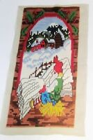 """Needlepoint Completed Long Stitch Gnome Tomte Elf Norway Christmas Scene 15x30"""""""