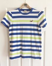 Hollister T-shirt Men's Medium Blue Green White Pre-owned in Excellent Condition