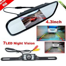 "4.3"" Tft Lcd Monitor Mirror+wired Reverse Car Rear View Backup Camera Kit Oy"