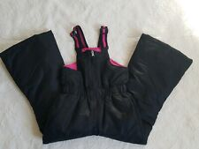 SWISSTECH Girls Youth Kids size XS 4-5 Insulated Snow Ski Bib Pants Black/Pink