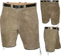 kurze sportliche Lederhose Bermuda Shorts mit Gürtel 3 Taschen