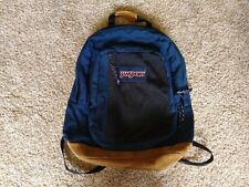 Vintage JANSPORT Mesh Lg Brown Navy Blue Backpack Multi Zipper