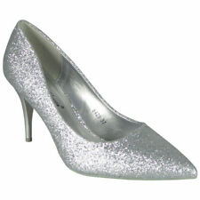 Womens Court Shoes Bridal Ladies Glitter Wedding High Pencil Heel Party Size