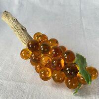 "Huge MCM Lucite Grape Cluster on Driftwood Amber Orange 16"" Interior Decor EUC"