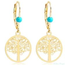 14K Gold Filled Round Tree of Life Drop Dangle Earrings Boho Turquoise Bead