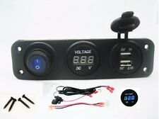 Dual USB Charger + Blue Voltmeter + Power LED Switch w/ Wires Marine Outlet 12V