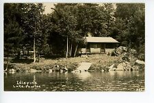Idlepine Log Cabin LAKE FAIRLEE Antique RPPC Interesting ARROWHEAD PHOTO BACKING