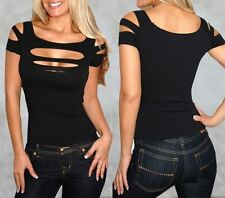 Sexy Womans Black Ripped Slashed Tight T-Shirt Clubwear Stretch Top 8 10 12