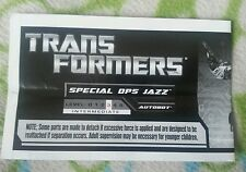 TRANSFORMERS RTS SPECIAL OPS JAZZ INSTRUCTION BOOKLET ONLY