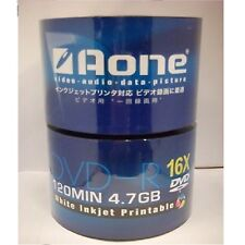 Aone 16x White Full Face Printable Blank DVD-R Discs 4.7GB 120mins 100 discs
