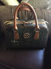 Chocolate brown NX Purse with logos, rose gold accents, NWT