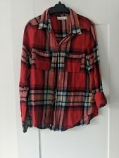 MENS ABERCROMBIE AND FITCH RED CHECK MUSCLE FIT SHIRT - SIZE - LARGE